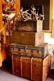 Ustawia bagaż podróży bagażniki z poroże Obrazy Royalty Free