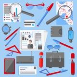 Ustawia biurowego i biznesowego elementu telefon ilustracji