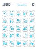Ustawia Blue Line ikony Karmowi Additives Obrazy Stock
