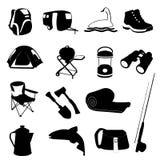 Ustawiać campingowe Ikony Fotografia Royalty Free