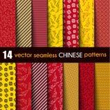 Ustawia chińczyka z Ornamentacyjnym Rybim Wektorowym Bezszwowym wzorem w rewolucjonistce, czerni, kolorze żółtym i bielu, Zdjęcia Royalty Free
