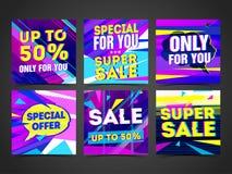 Ustawia Cyber projekta szablonu sztandar, karta, pocztówka dla super sprzedaży Jaskrawy kolorowy geometryczny abstrakcjonistyczny ilustracja wektor