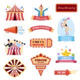 Ustawia cyrka powitanie Powitanie i zaproszenie cyrkowy występ, billboard ilustracja wektor