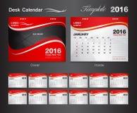 Ustawia czerwień kalendarza 2016 projekta Wektorowego szablon Zdjęcie Royalty Free
