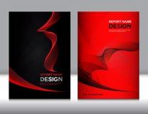 Ustawia czerwieni i czerni sprawozdania rocznego Okładkowego projekt Obrazy Royalty Free