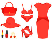 Ustawia czerwieni ubrania Zdjęcia Royalty Free