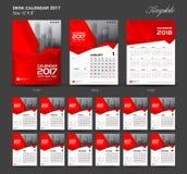 Ustawia Czerwonego biurko kalendarz 2017 rok rozmiar 6, 8 x calowy szablon ilustracji