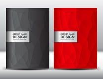 Ustawia Czerwonego i czarnego Okładkowego szablon, sprawozdanie roczne, broszurki fl yer, Obraz Royalty Free
