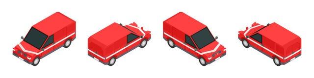 Ustawia czerwonego isometric ciężarówka zapas royalty ilustracja