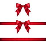 Ustawia czerwonych tasiemkowych atłasowych łęki odizolowywających na bielu Obraz Royalty Free
