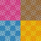 Ustawia cztery zabawa geometrycznego wzoru z kolorowymi okręgami i prostokątami Fotografia Stock