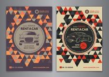 Ustawia A5, A4 czynsz samochodowy biznesowy ulotka szablon Samochód broszurki usługowi szablony, samochód okładka magazynu Fotografia Stock