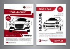 Ustawia A4 czynsz samochodowy biznesowy ulotka szablon Samochód broszurki usługowi szablony, samochód okładka magazynu, mockup ul Obraz Royalty Free