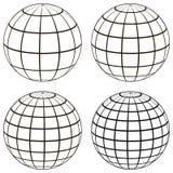 Ustawia 3D kuli ziemskiej balowego modela ziemska sfera z równorzędną siatką, ilustracji