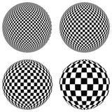 Ustawia 3D piłki z kwadratami czarny i biały na samolocie, sfera, ilustracja wektor