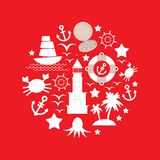 Ustawia denną ikonę na czerwonym tle wektor Obrazy Royalty Free