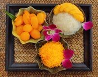 Ustawia deserowego Tajlandzkiego jedzenie Fotografia Royalty Free