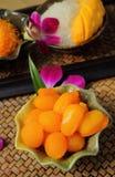Ustawia deserowego Tajlandzkiego jedzenie Obrazy Royalty Free