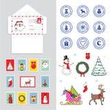 Ustawia dla Bożenarodzeniowej koperty dla listu Święty Mikołaj, wektorowa ilustracja royalty ilustracja
