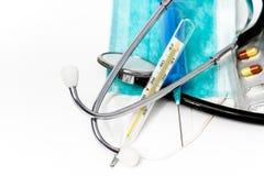 Ustawia dla grypowego traktowania - zdrowie i medycyny pojęcie zdjęcie stock