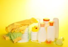 Ustawia dla opieki dziecko i pieluszki, odzieżowy zdjęcie stock