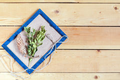 Ustawia dla rzemiosła na lekkim drewnianym sosnowym tle Obrazy Stock