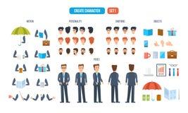 Ustawia dla tworzyć charakteru biznesmena, składać się z różnorodni szczegóły royalty ilustracja