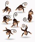 Ustawia doskakiwanie małpy ilustracja wektor
