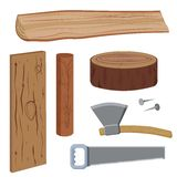Ustawia drewno i narzędzia Zdjęcie Stock