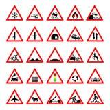 Ustawia drogowych zagrożenie znaki ostrzegawczych, drogowi znaki ostrzega o sytuaci ruch drogowy reguły, wektorowy czerwony trójb Fotografia Stock