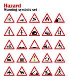 Ustawia drogowych zagrożenie znaki ostrzegawczych, drogowi znaki ostrzega o sytuaci ruch drogowy reguły, wektorowy czerwony trójb Obraz Stock