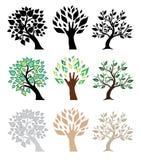 ustawia drzewa Zdjęcia Royalty Free
