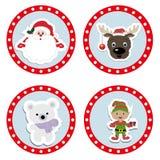 Ustawia dzieci bożych narodzeń majcherów Kolekcja odznak etykietki Zdjęcie Stock