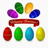 Ustawia Easter jajka z złotym abstrakcjonistycznym ornamentu faborku sztandarem Zdjęcie Stock