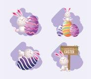 Ustawia Easter królika z jajko emblematem i dekoracją ilustracji