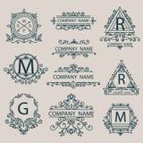 Ustawia emblematy, monogram firmy logów biznesu styl Zdjęcia Royalty Free