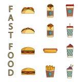 ustawiać fast food ikony Obraz Stock