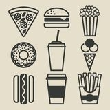 ustawiać fast food ikony Obraz Royalty Free