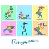 Ustawia fotograf kamery reportera blogger dziennikarza paparazzi Zdjęcia Royalty Free