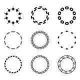 Ustawia fractal i zawijasa kształta element Rocznika monochrom differen Zdjęcia Stock