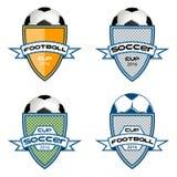 Ustawia futbolowego loga dla drużyny i filiżanki Zdjęcie Royalty Free
