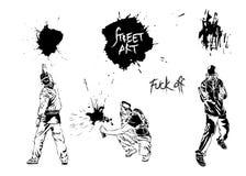 Ustawia graffiti sztukę Artyści, podpisują i bryzgają ilustracja wektor