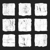 Ustawia grunge białego kwadrat na czarnym tle Obrazy Stock