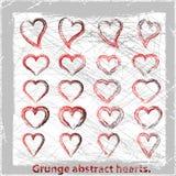 Ustawia grunge serca. Obrazy Stock