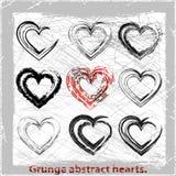 Ustawia grunge serca. Zdjęcia Stock