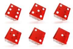Ustawia, grupa czerwoni przejrzyści kostka do gry odizolowywający na białym tle z cieniami świadczenia 3 d ilustracja wektor