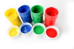 Ustawia guasz farby dla dzieci odizolowywających na białym tle zdjęcie stock