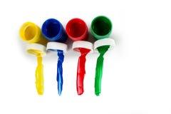 Ustawia guasz farby dla dzieci odizolowywających na białym tle obraz stock
