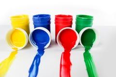 Ustawia guasz farby dla dzieci odizolowywających na białym tle fotografia stock