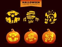 Ustawia Halloween cyzelowania lampionu dyniowego szablon ilustracji